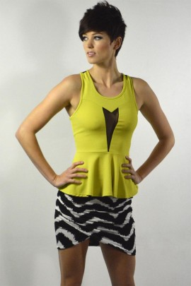 Diana Peplum In Electric Green