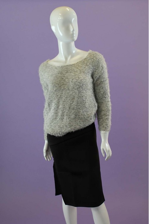Grey Faux Mohair Sweater