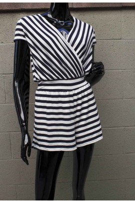 Indra Navy & White Stripe Romper with Cross Strap