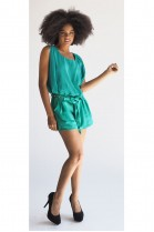 The Asia Romper With Gold Chain Belt  In Jade