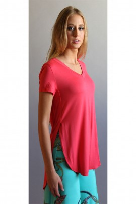 Tomboy Chic Side-Slit V-Neck Tee