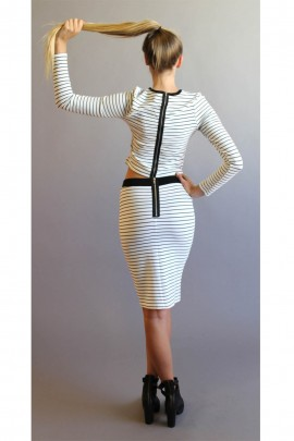 Kennedy Black & White Zip Back 3/4 Skirt