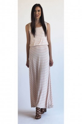 The Rachel Maxi Dress In Red & White