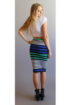 Hanson Color Block Stripe 3/4 Skirt In Blue & Green
