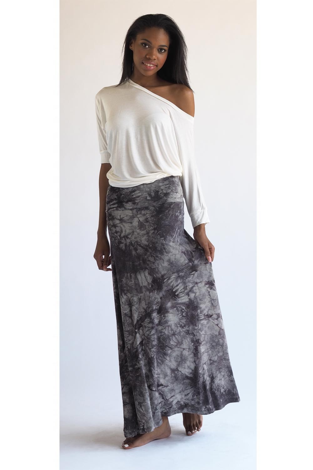 tie dyed maxi skirt in grey or blue at discounted price