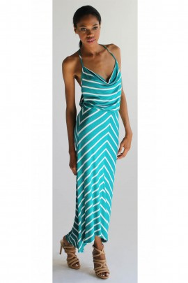 Izalea Stripe Maxi Dress In Teal & White